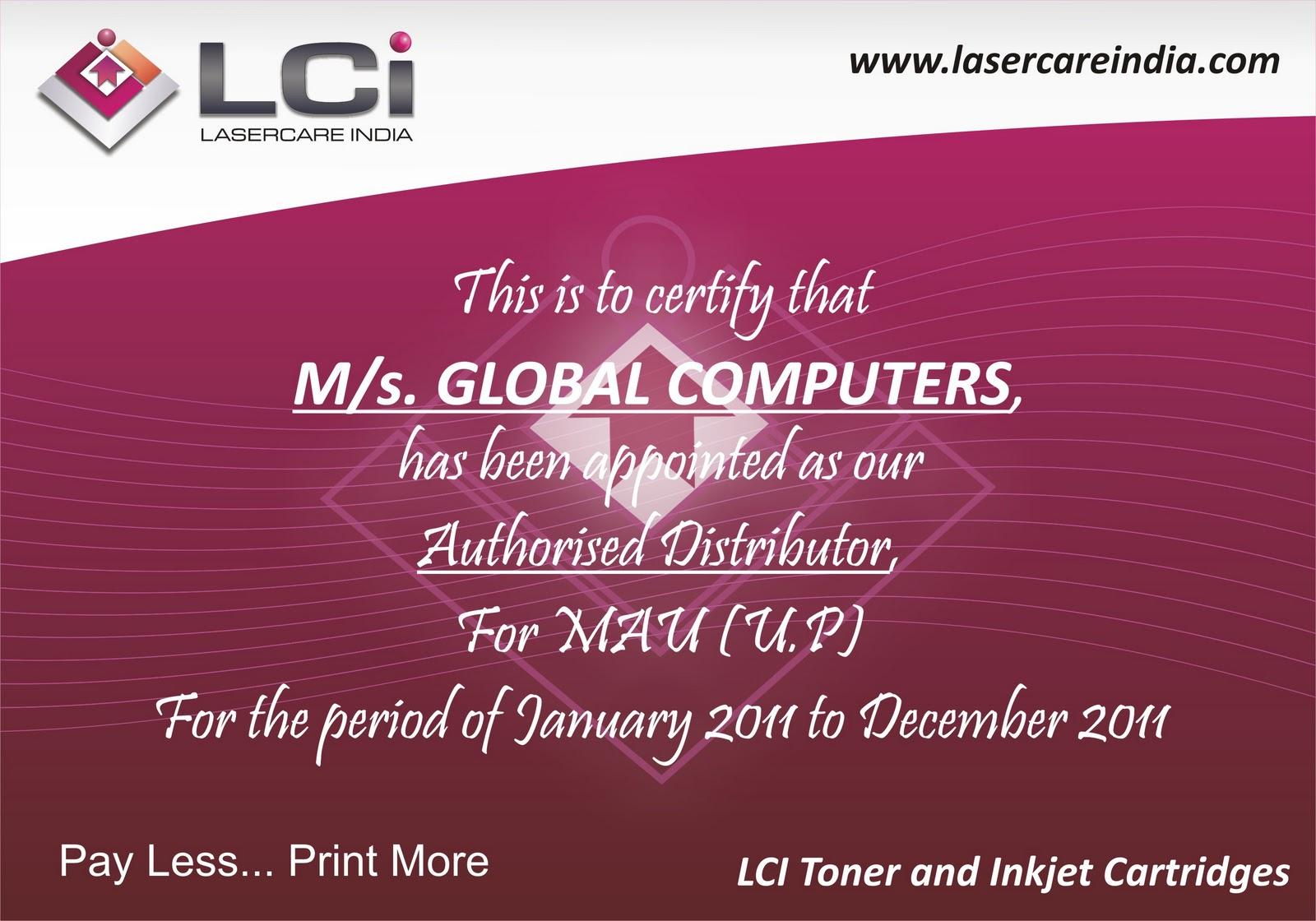authorised dealer certificate format