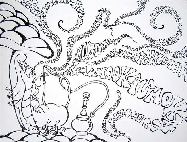Caterpillar Alice In Wonderland Coloring Pages